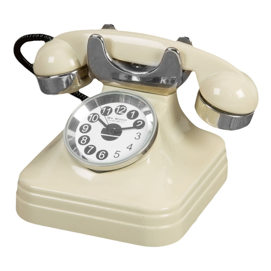 Cream Retro Telephone Miniature Quartz Clock