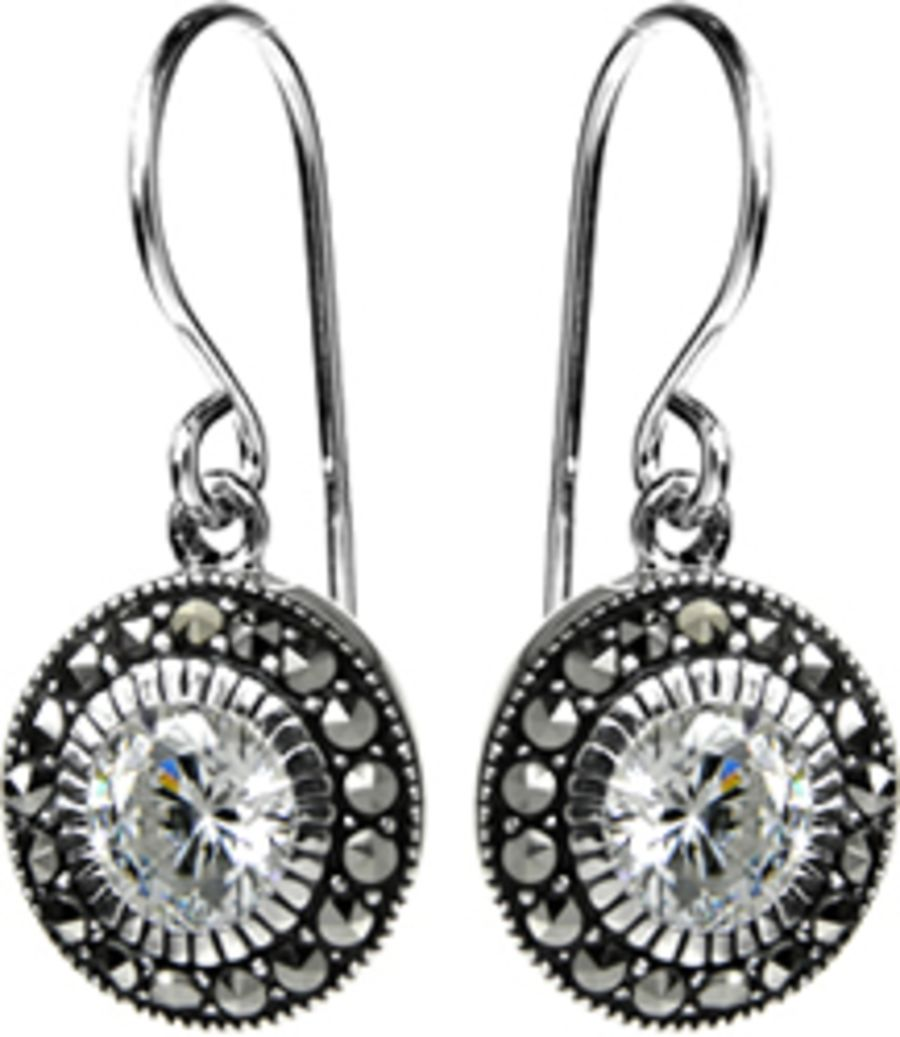 Silver Marcasite & CZ Drop Earrings