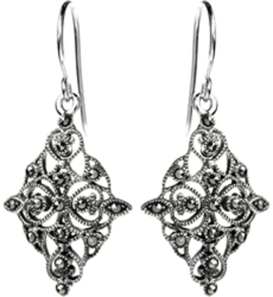 Silver & Marcasite Art Nouveau Style Diamond Shape Earrings