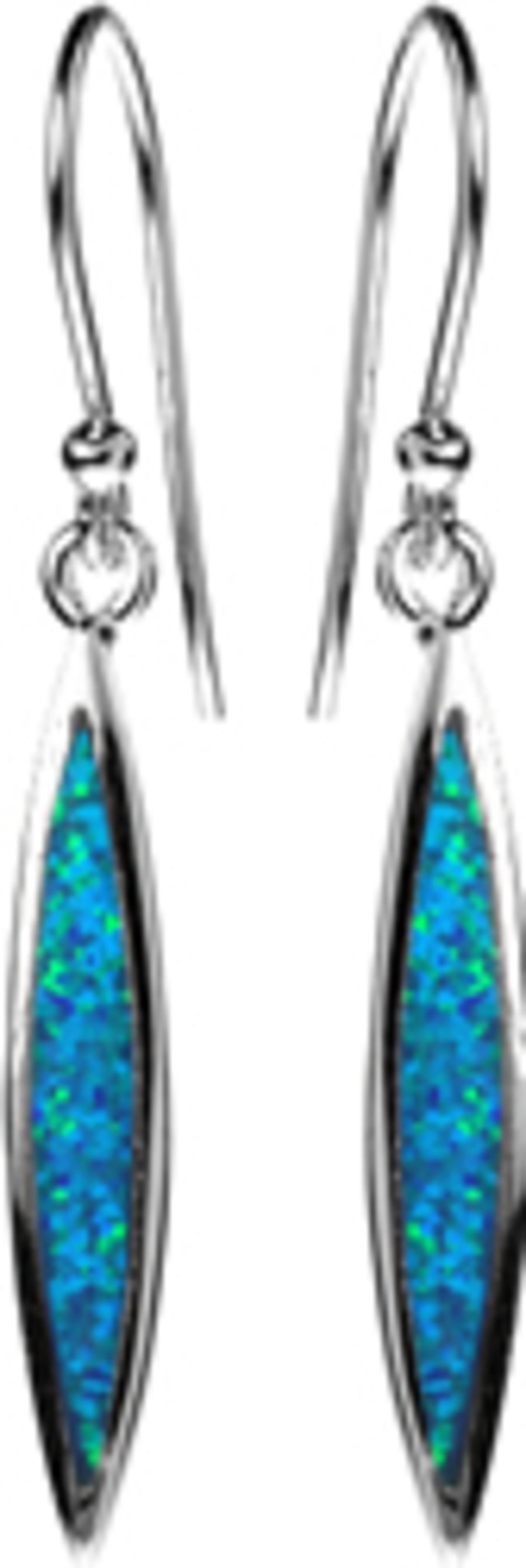 Silver & Faux Opal long marquise Drop Earrings