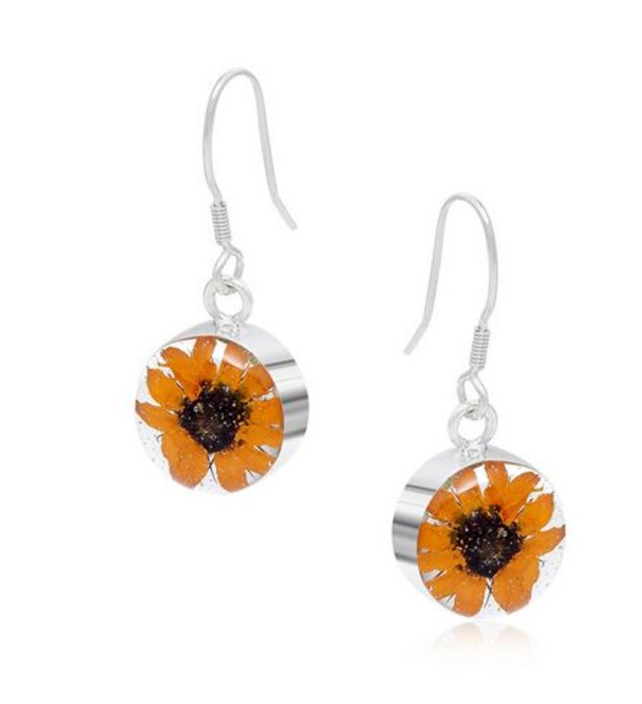 Silver Round Sunflower Drop Earrings by Shrieking Violet