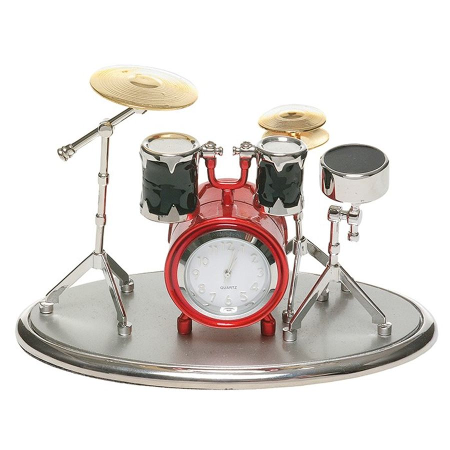 Silver & Red Drum Kit Miniature Clock