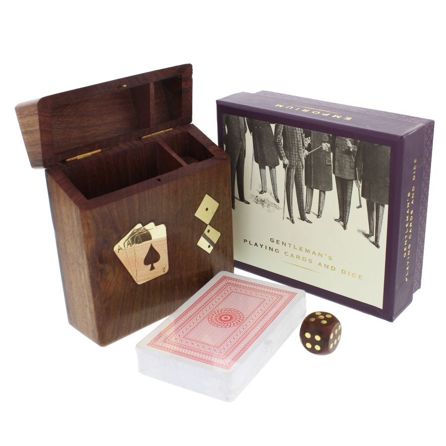 Emporium Pack of Playing Cards and Dice in a Wooden Box