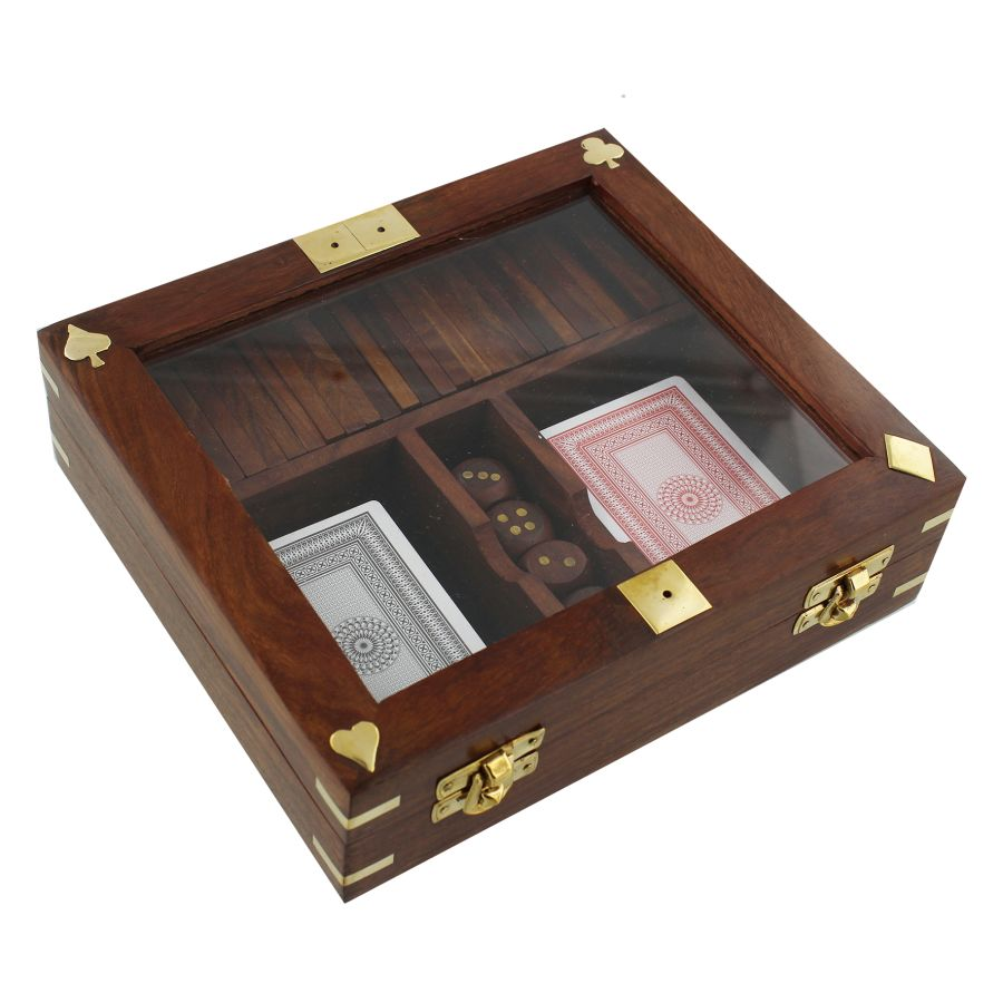 Playing Cards, Dice & Dominoes In Wooden Box