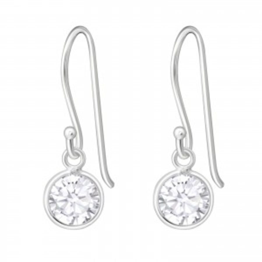 Round - 925 Sterling Silver Cubic Zirconia Earrings