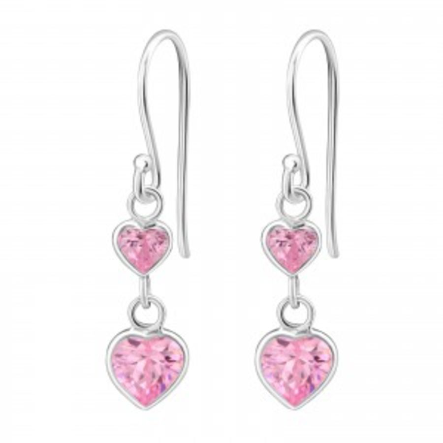 Small Hearts - 925 Sterling Silver Cubic Zirconia Earrings