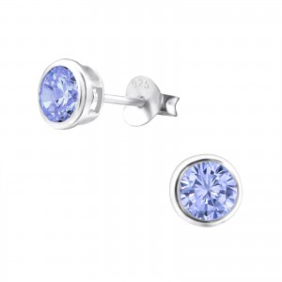 5mm Round - 925 Sterling Silver Cubic Zirconia Studs