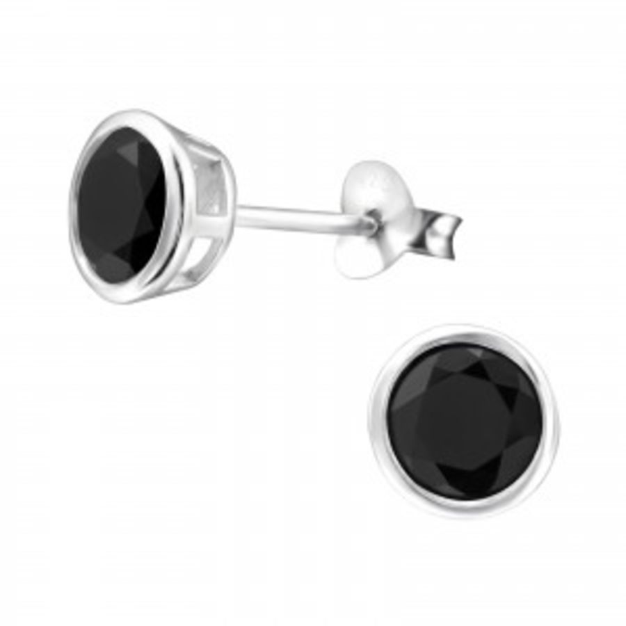 6mm Round - 925 Sterling Silver Cubic Zirconia Studs