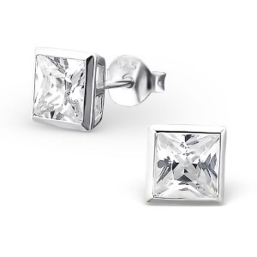 5mm Square - 925 Sterling Silver Cubic Zirconia Studs