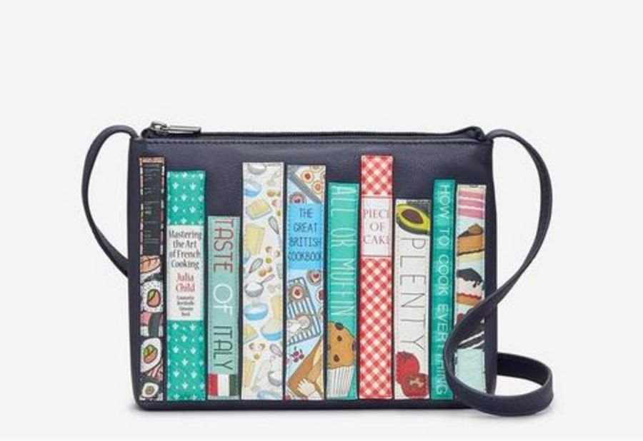 Bookworm Cookbook Navy Leather Cross Body Bag