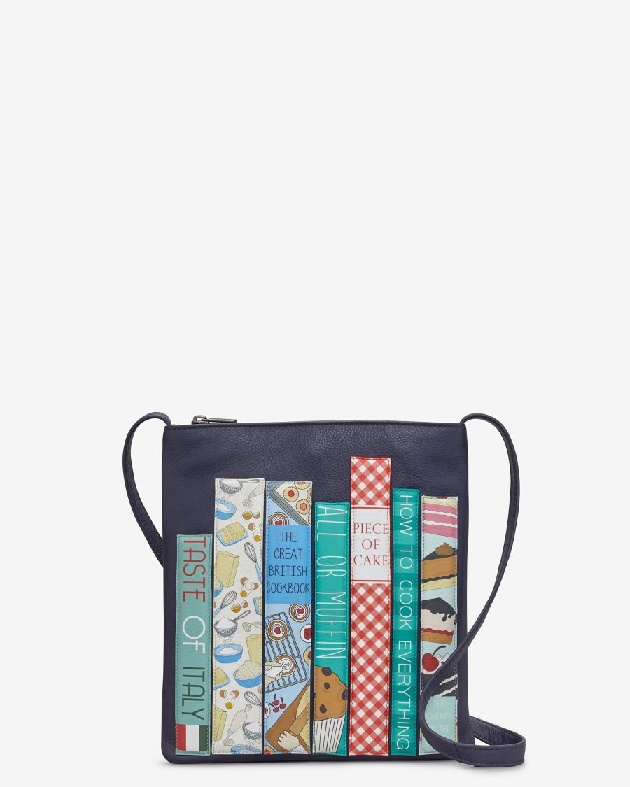 Bookworm Cookbook Navy Leather Cross Body Bag by YOSHI