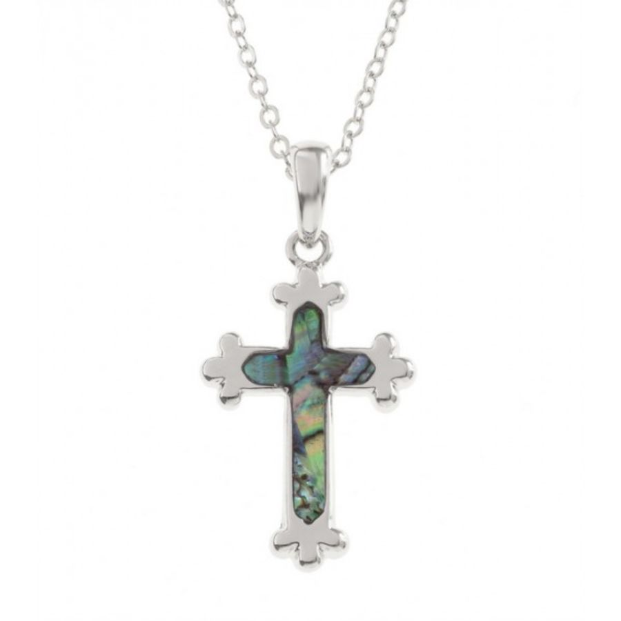 Paua Shell inlay Cross Pendant by Tide Jewellery