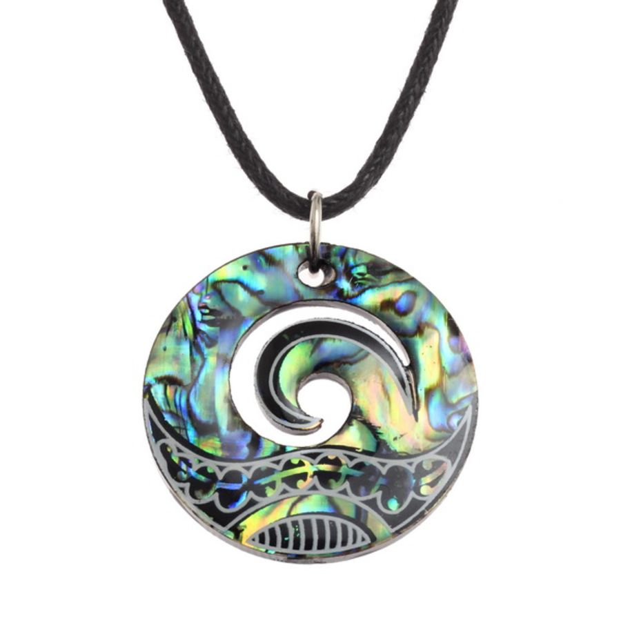 Paua Shell Wave Design Pendant by Tide Jewellery