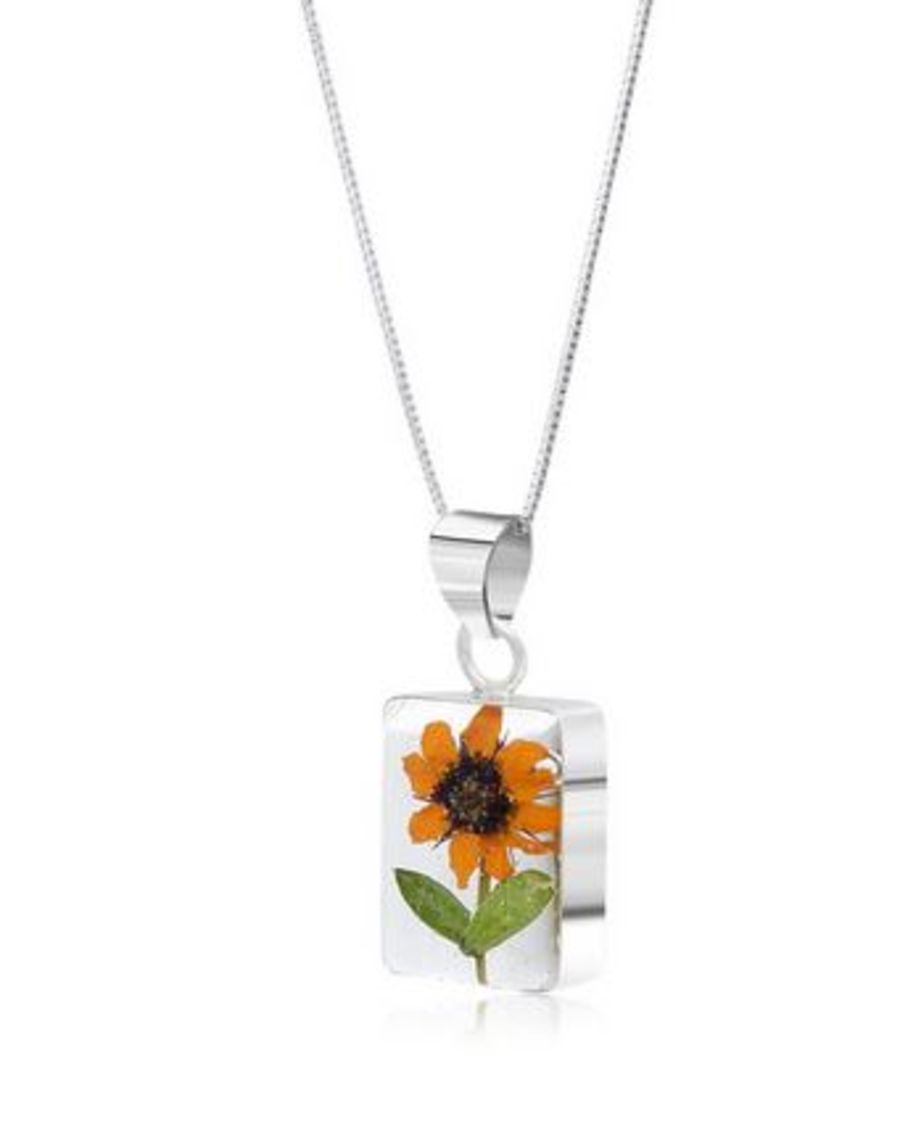 Silver Rectangular Sunflower Pendant by Shrieking Violet