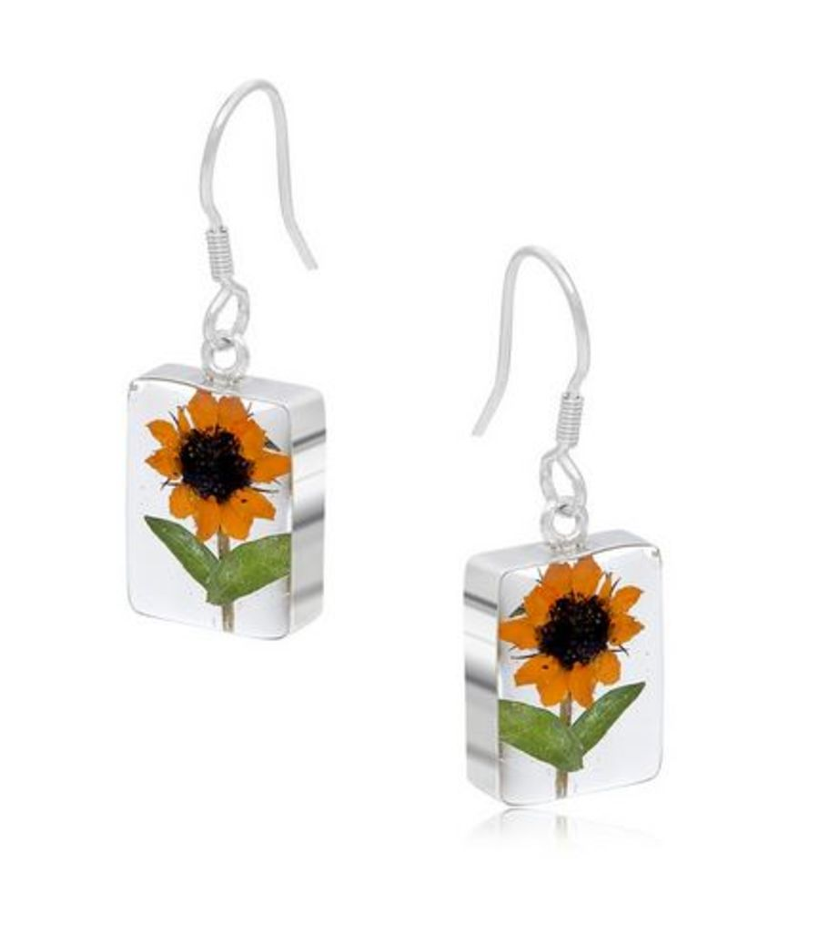 Silver Rectangular Sunflower Earrings by Shrieking Violet