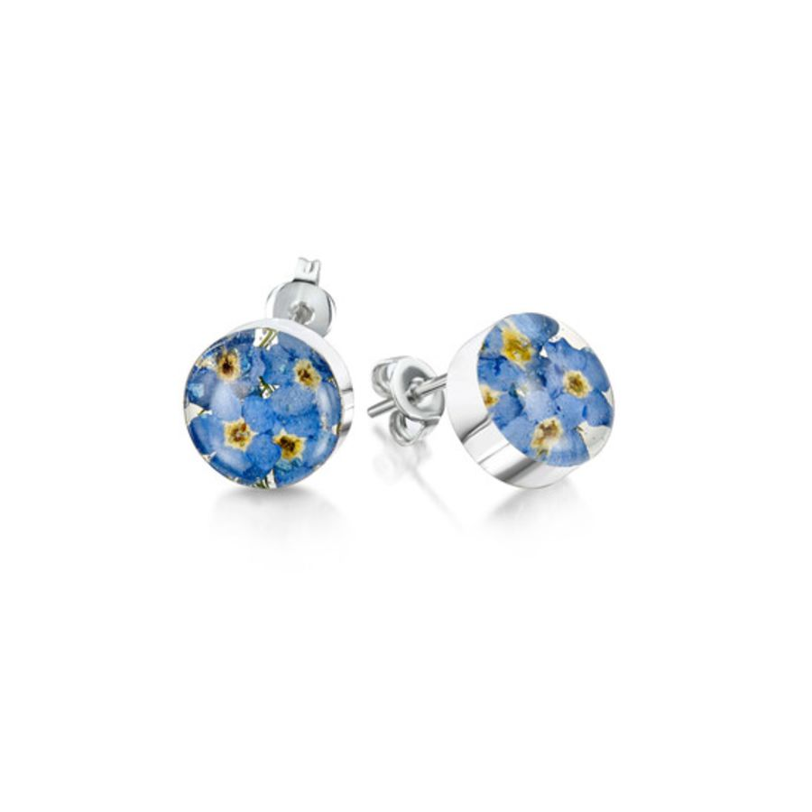 Silver Forget-me-not Round Stud Earrings by Shrieking Violet