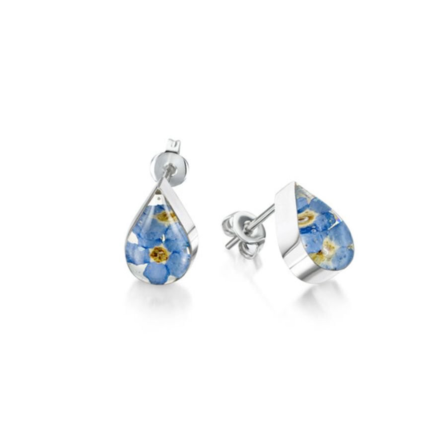 Silver Forget-me-not Teardrop Stud Earrings by Shrieking Violet