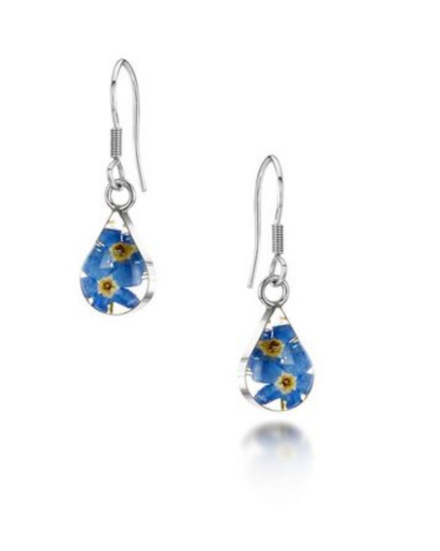 Silver Forget-me-not Teardrop Drop Earrings by Shrieking Violet