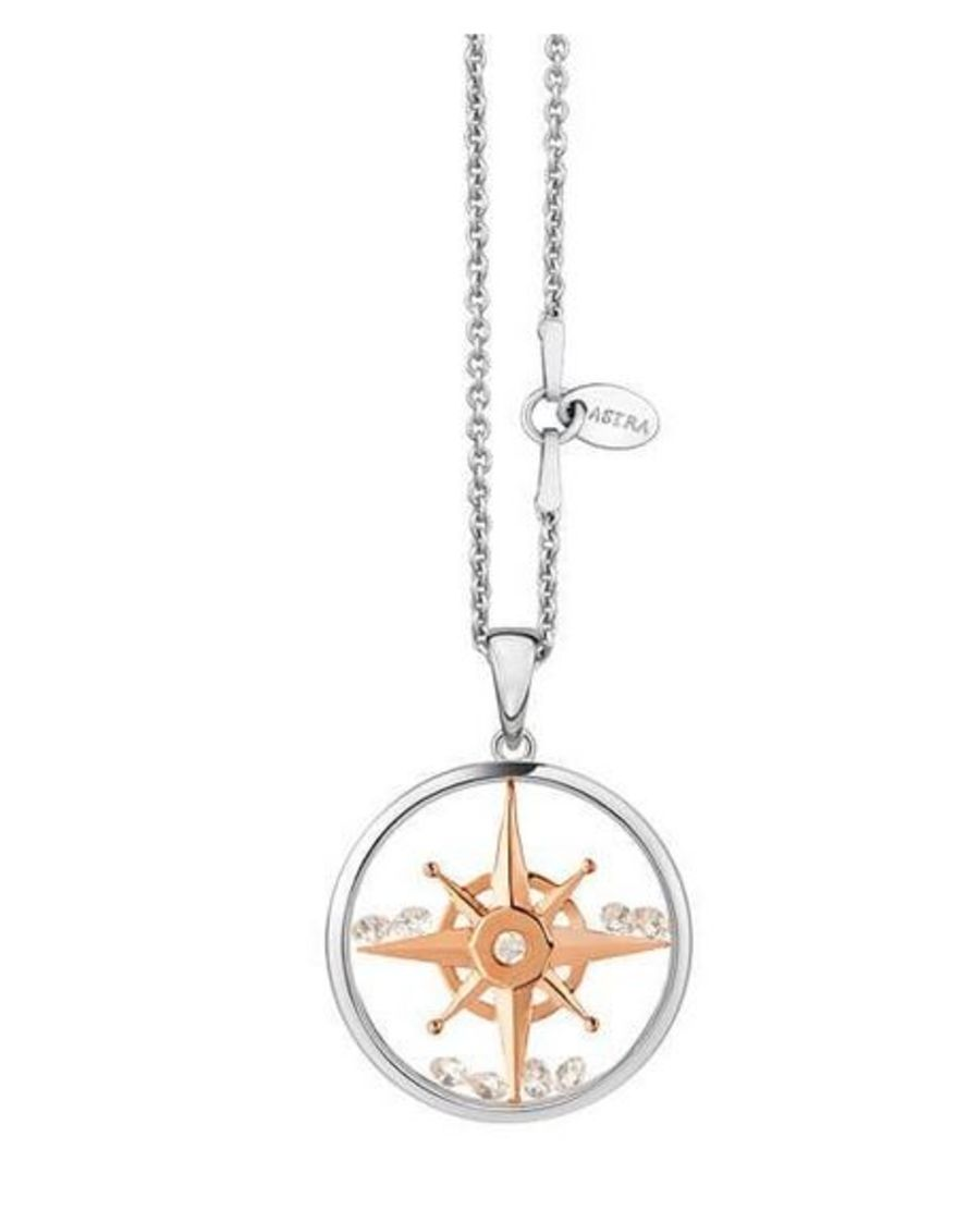 Compass Star Silver & Rose Gold Pendant by Astra Jewellery