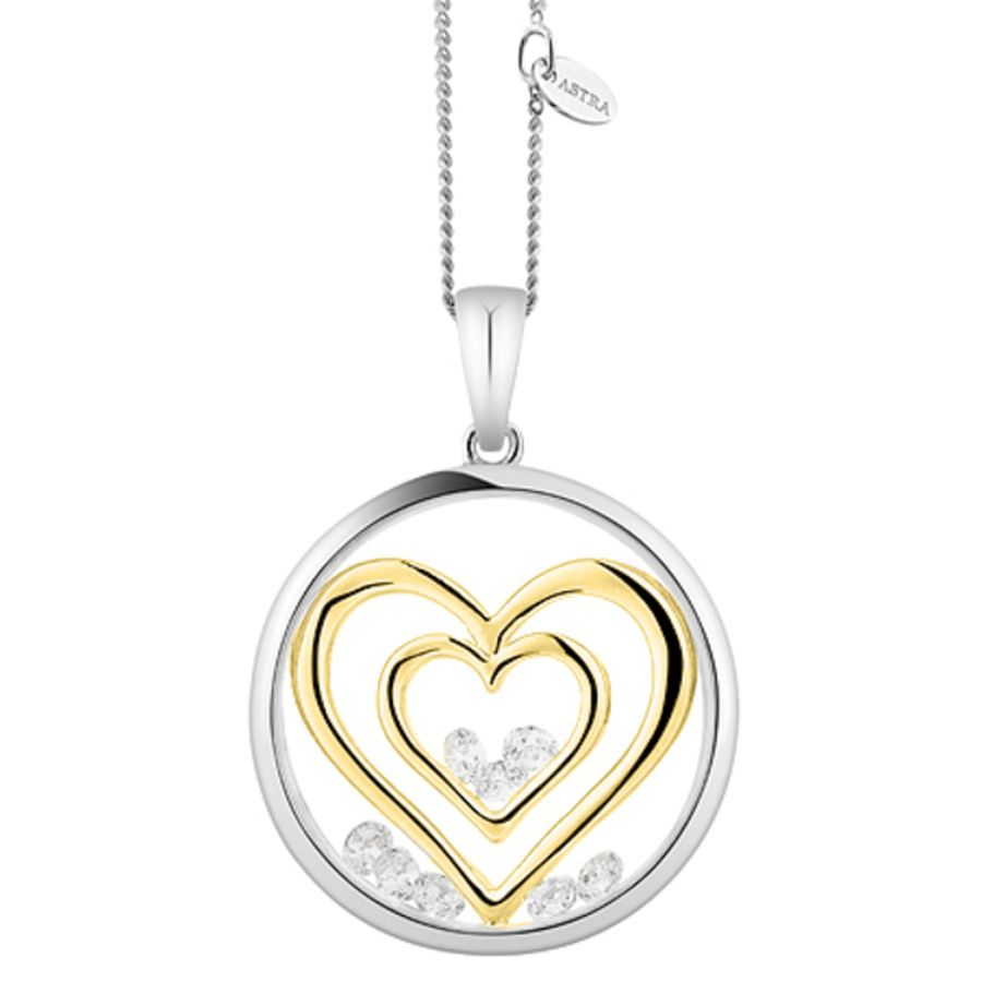 Double Heart Silver Pendant & Chain by Astra Jewellery