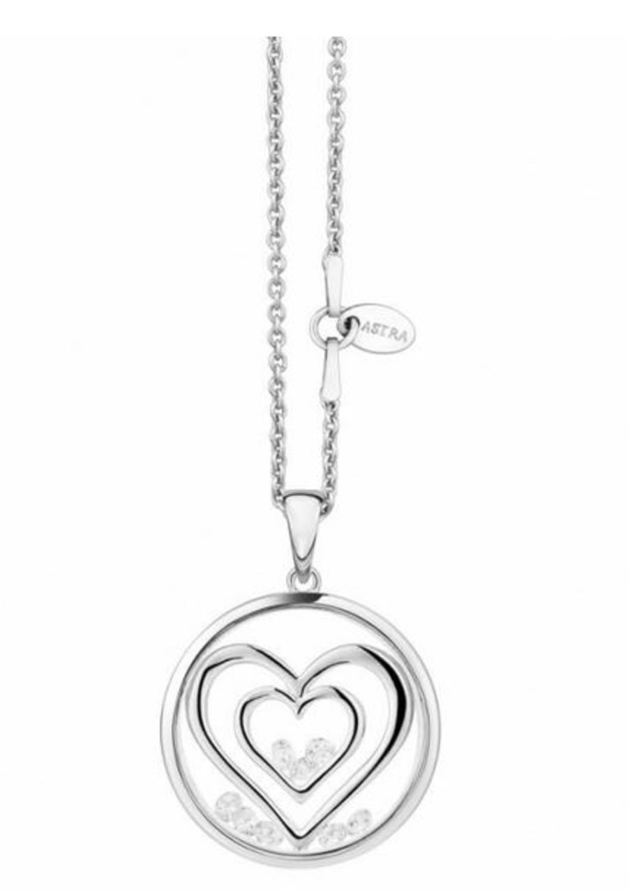 Double Heart Silver Pendant by Astra Jewellery