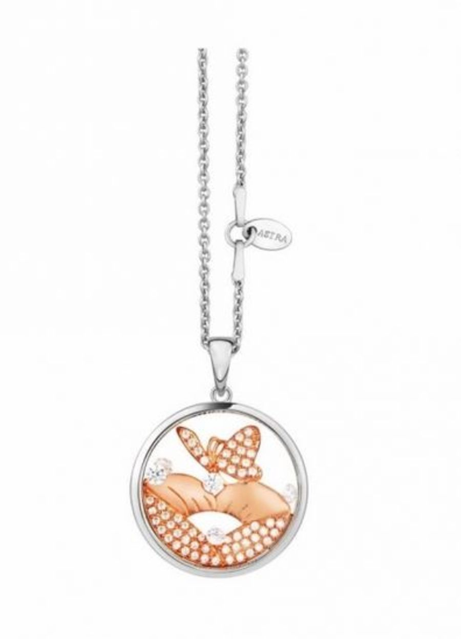 Butterfly Kiss Silver Pendant by Astra Jewellery