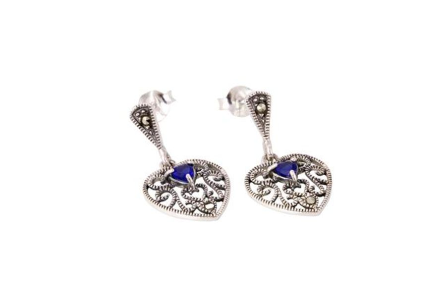 Silver & Marcasite Heart Drop Earrings by London Vintage - 4 colours Available