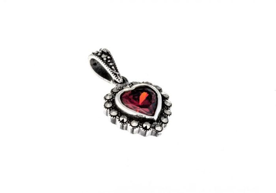 Small Silver & Marcasite Heart Pendant &Chain by London Vintage