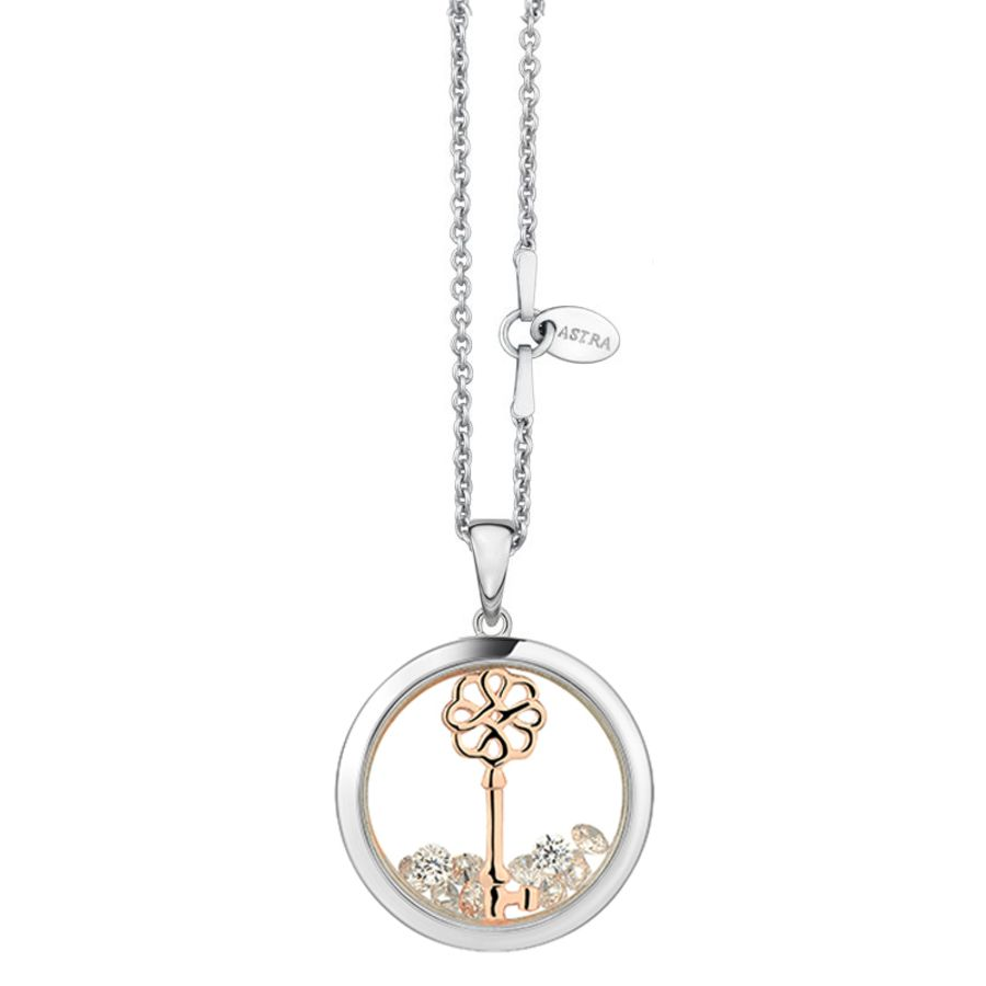 Lucky Key Silver & Rose Gold detail Necklace by Astra Jewellery