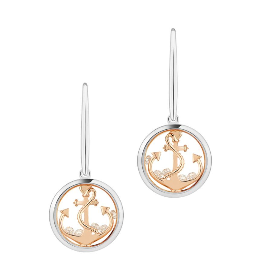 Anchor the Soul Silver & Rose Gold Earrings by Astra Jewellery