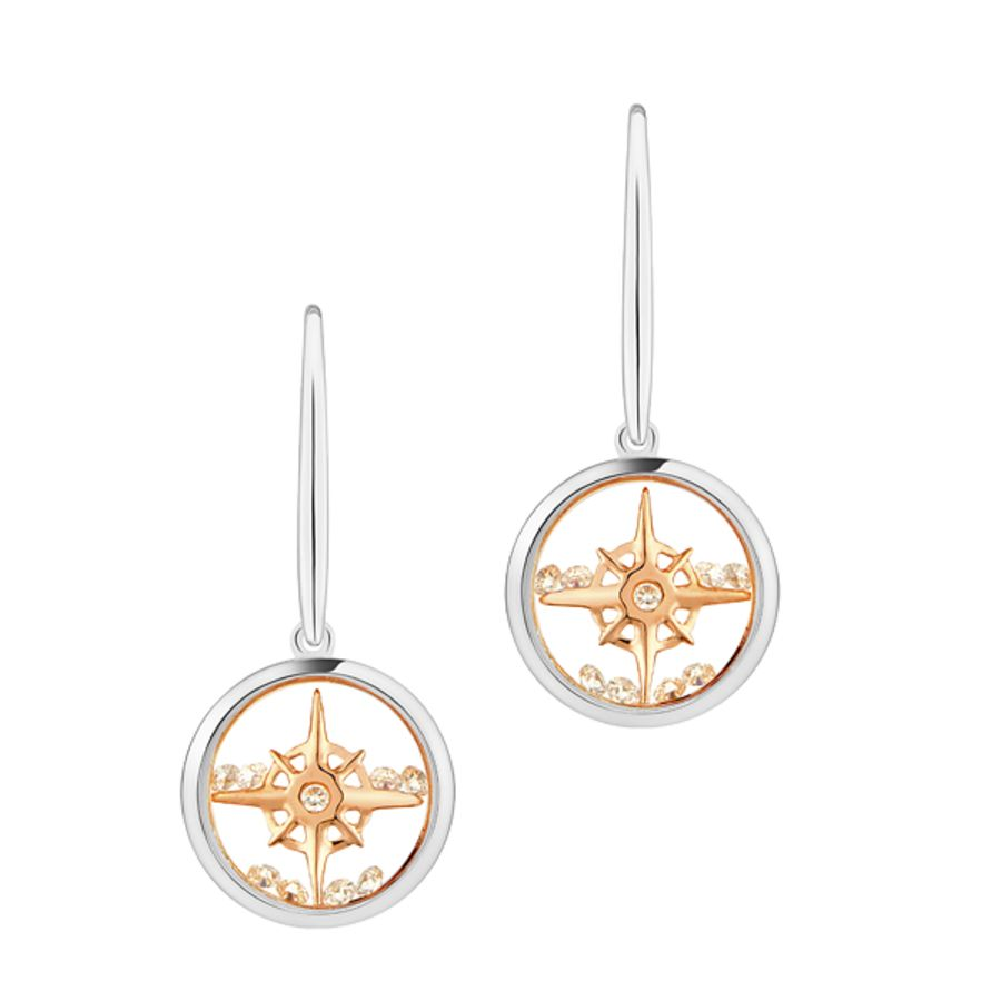 Compass Star Silver & Rose Gold Earrings by Astra Jewellery