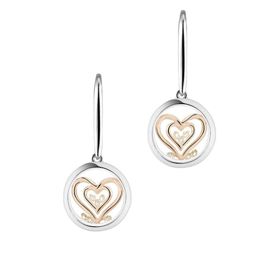 Double Heart Silver & Rose Gold Earrings by Astra Jewellery