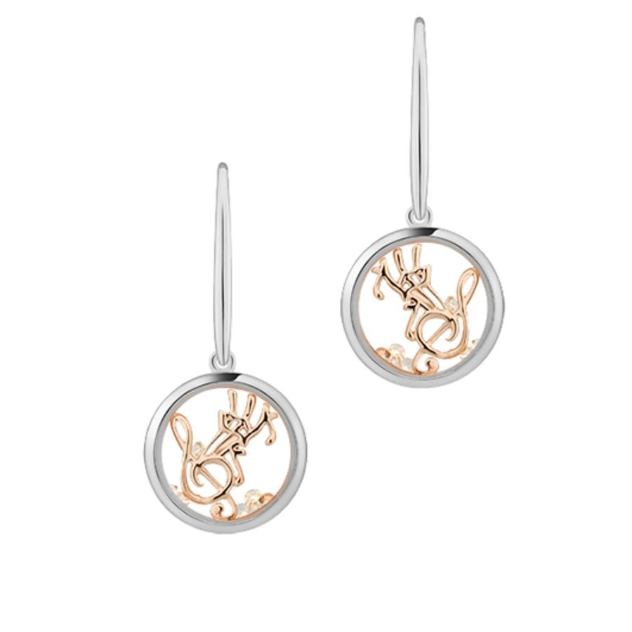 Happy Melody Silver & Rose Gold Earrings by Astra Jewellery