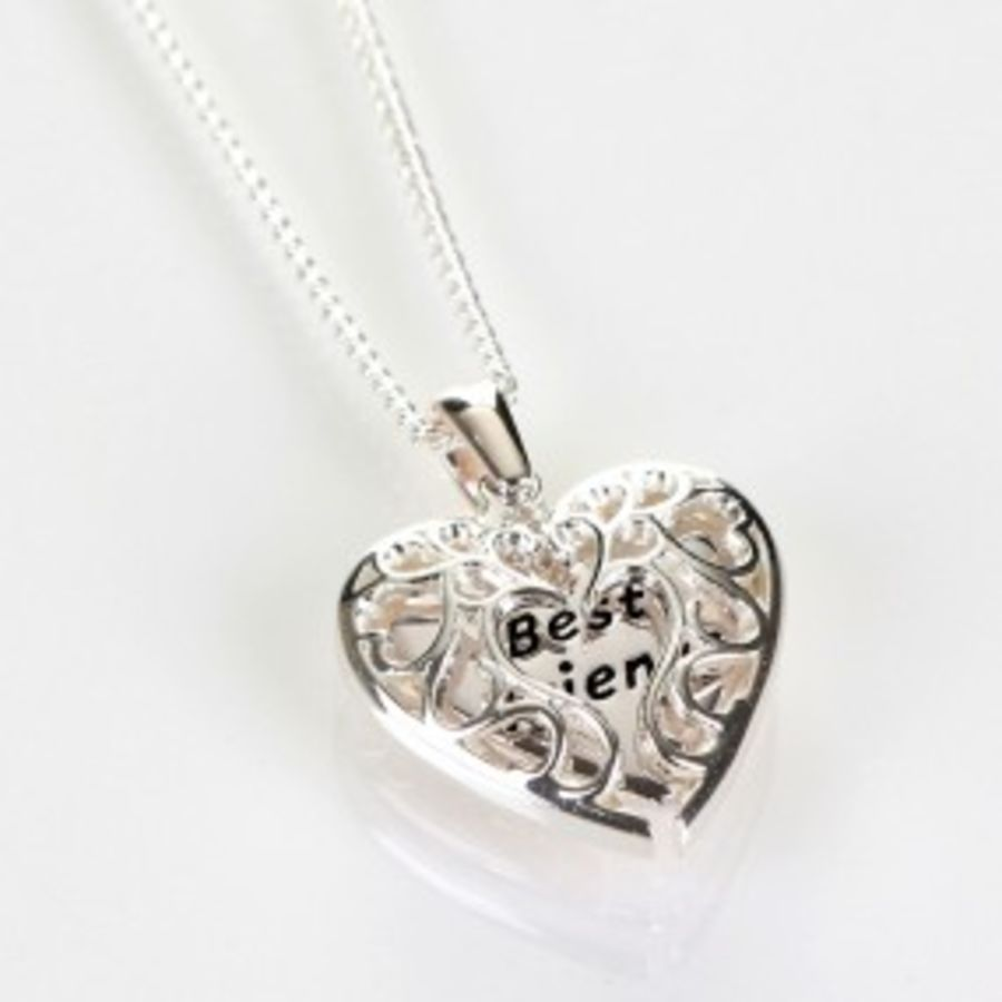 Silver Plated Heart Shaped Friends Necklace by Equilibrium