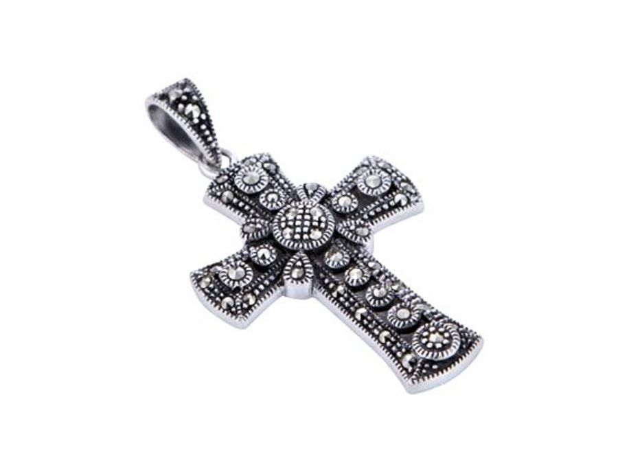 Marcasite set Silver Cross & Chain by London Vintage
