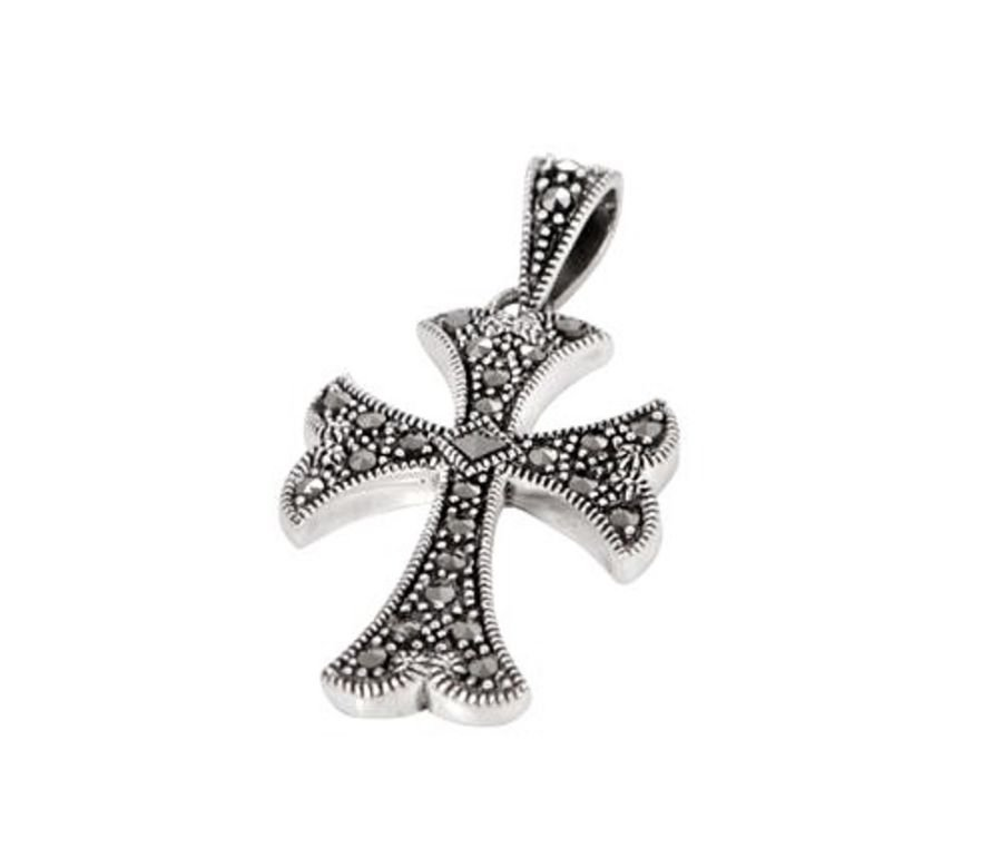 Elegant Silver & Marcasite Cross & Chain by London Vintage