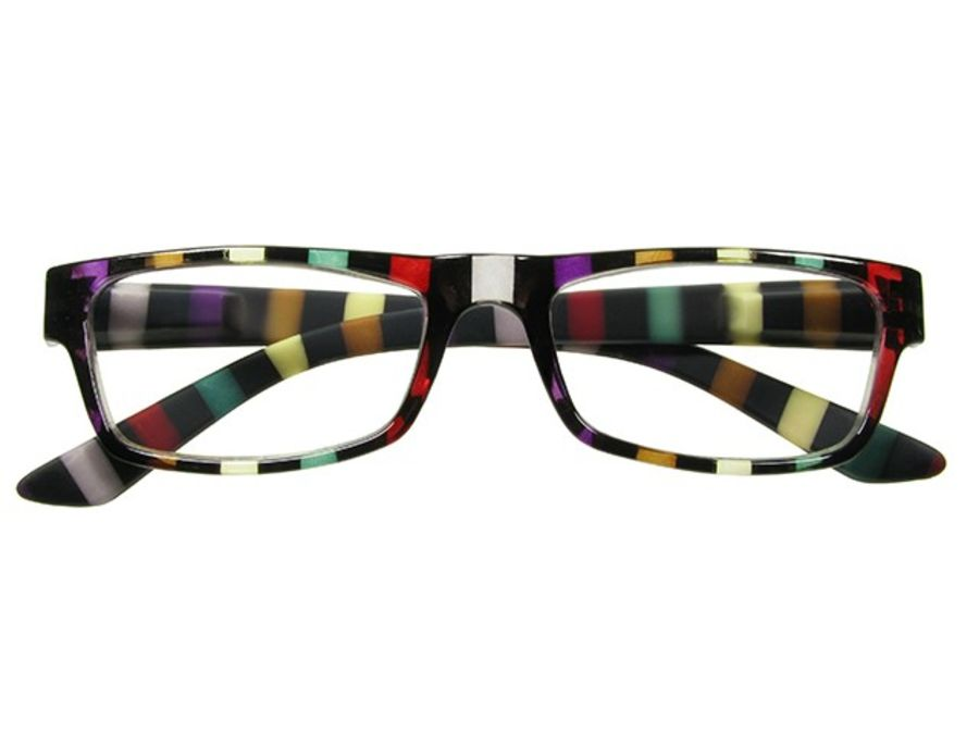 Reading Glasses 'Allsorts' Black / Multi-Stripe by Goodlookers