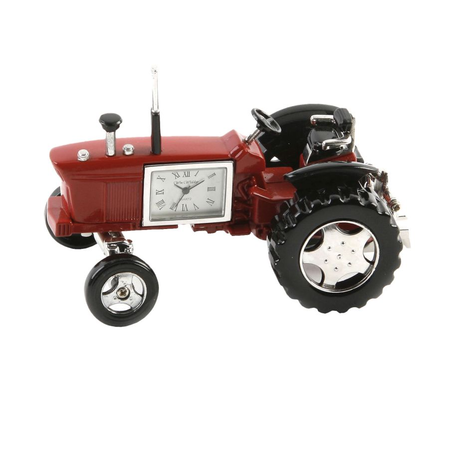 Red Tractor Miniature Clock
