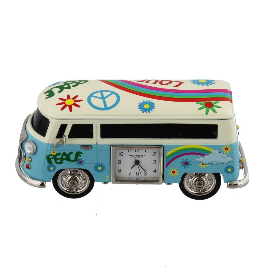 Blue Hippie Camper Miniature Clock