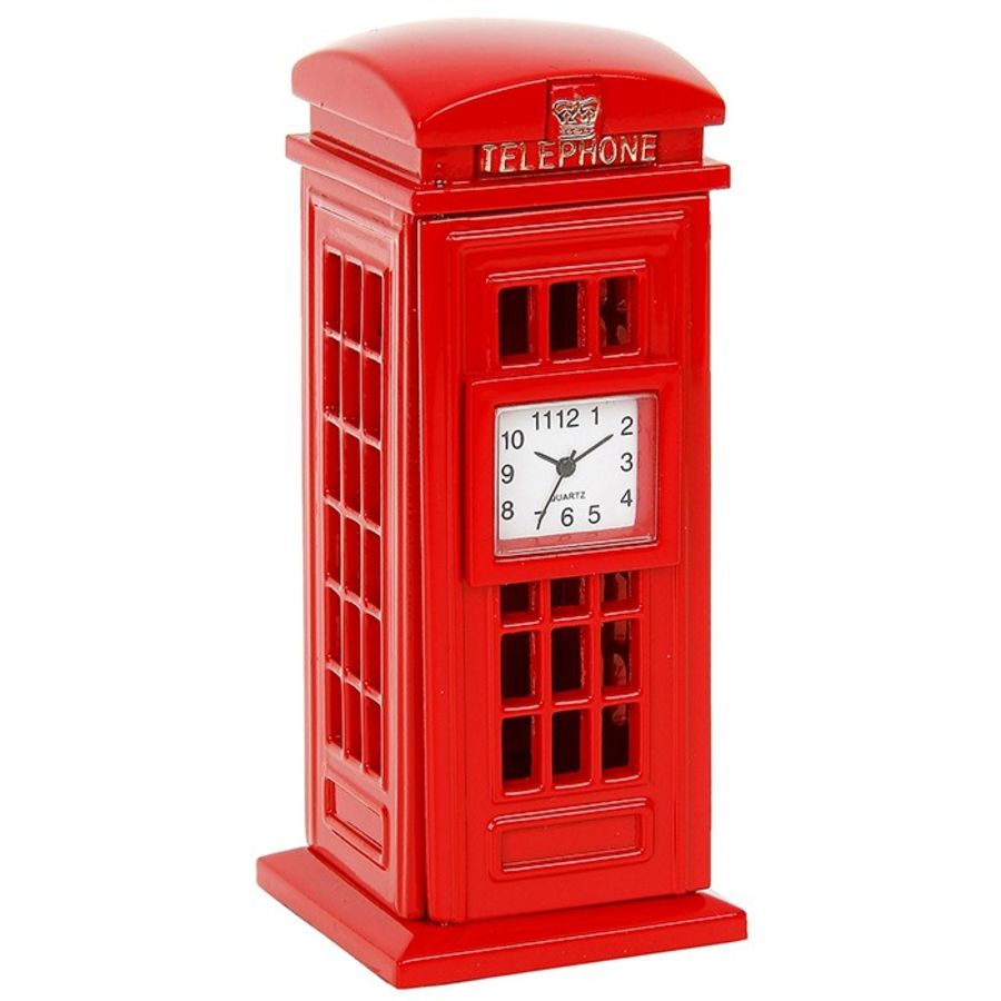 Telephone Box Miniature Clock