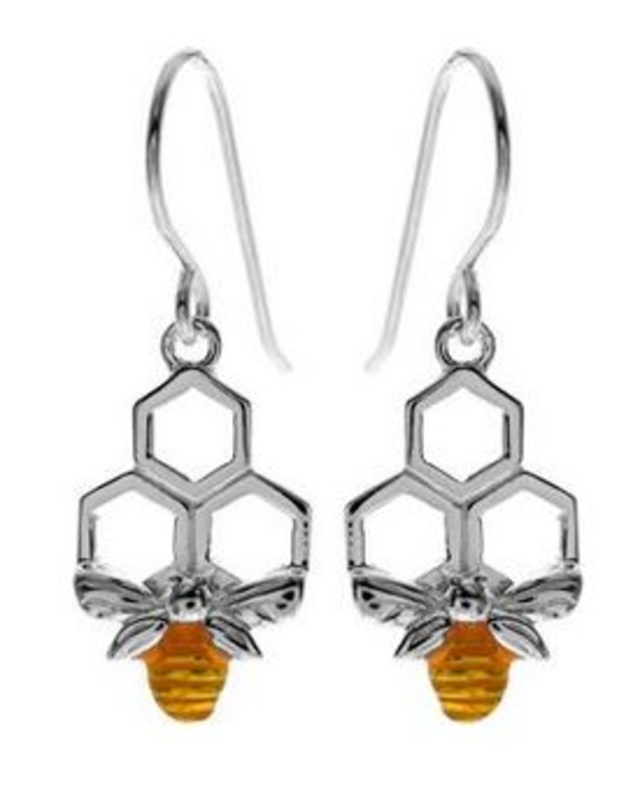 925 Silver Bee & Honeycomb Earrings