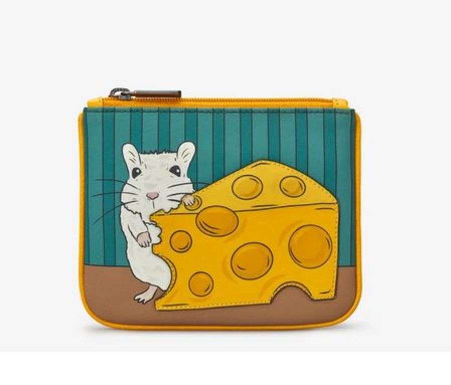 Leather Zip Top Mouse And Cheese Purse - Y by Yoshi