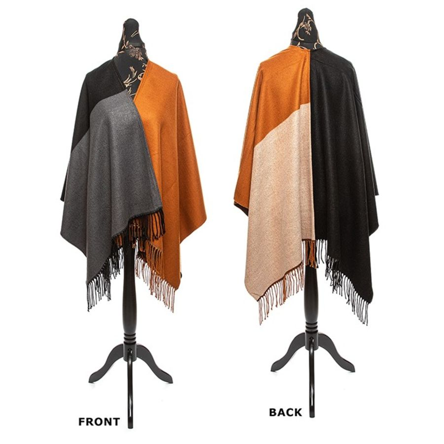 Patchwork Wrap with a Cashmere Feel - Brown