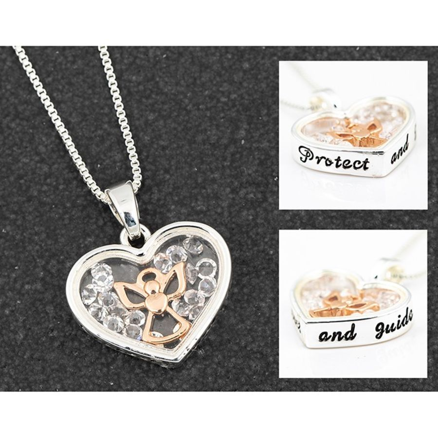 Protect & Guide Angel Floating Crystals Necklace by Equilibrium