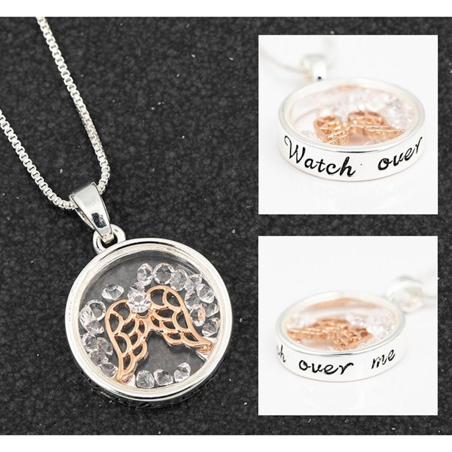 Watch Over me Angel Floating Crystals Necklace by Equilibrium