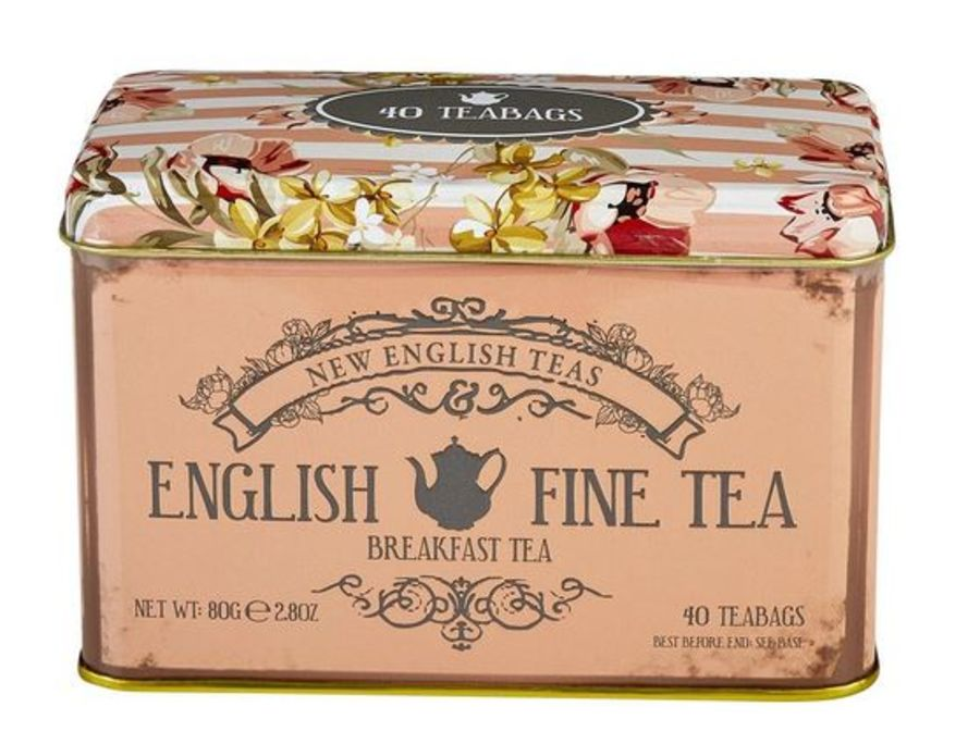 New English Teas Vintage Floral Fine English Breakfast Tea Tin 40 Teabags