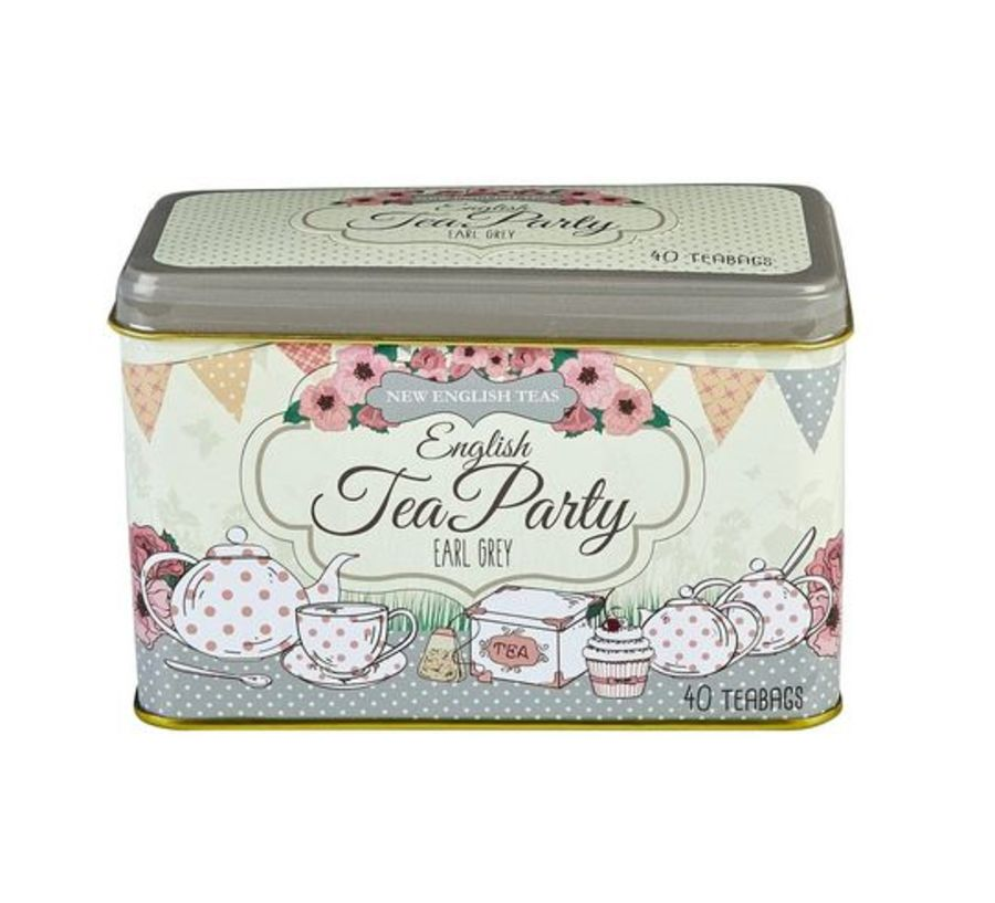 New English Teas English Tea Party Earl Grey Tea Tin 40 Teabags