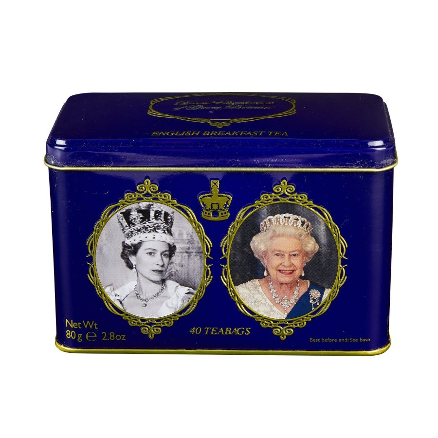 New English Teas Queen Elizabeth II English Breakfast Tea Tin 40 Teabags
