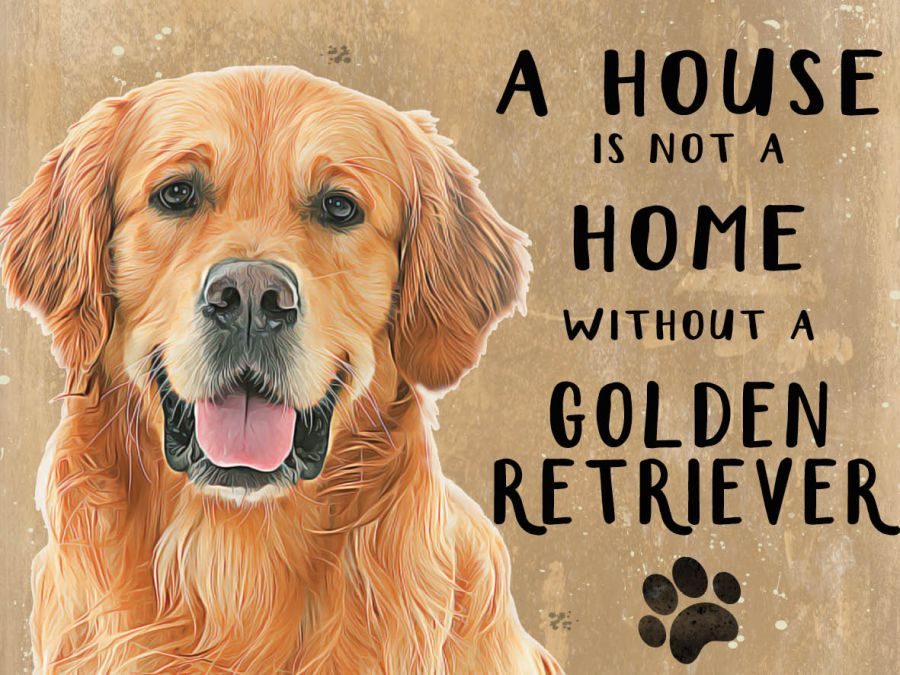 Golden Retriever Hanging Sign