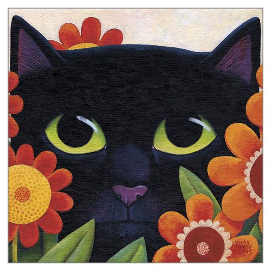 Black Cat and Flowers Card